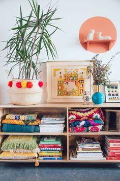 pinterest // prickly pear vintage // vintage inspired living room + bookshelves