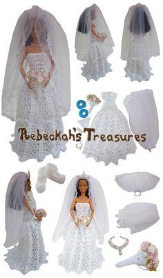 Crochet Barbie Wedding Set for Isabel by Rebeckah's Treasures ~ Barbie Bride
