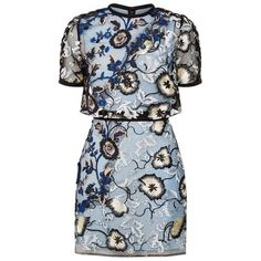 Self-Portrait Florentine Embroidered Mini Dress (£295) ❤ liked on Polyvore featuring dresses, sequin dresses, cocktail party dress, blue party dress, floral cocktail dresses and short dresses