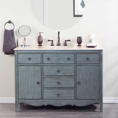 foremost corinne single vanity weathered aquamarine finish constructed with solid wood hand finished beige engineered stone top with backsplash - Foremost Vanity