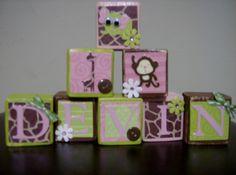 decorative wooden baby blocks- custom name wood blocks letters- jungle baby wooden blocks- maternity photography props - baby shower decor. $35.00, via Etsy.