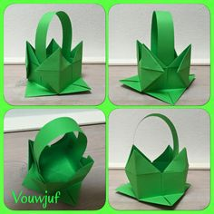 Paasmandje - De website van vouwjuf! Co Teaching, Origami Box, Easter Crafts, Diy And Crafts, Projects To Try, Gift Wrapping, Kids, Website, Primary School