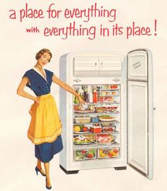 A place for everything with everything in its place!  Detail from 1950 Dow Plastics ad.