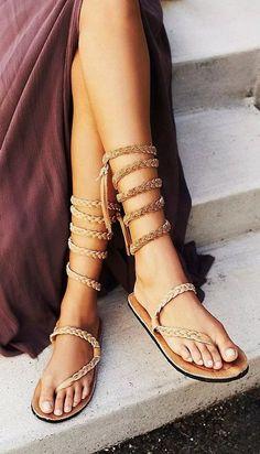 50 Stunning Boho Shoes Inspiration And Ideas For This Season - Boho Chic Bohemian Sandals, Boho Shoes, Bohemian Chic Fashion, Boho Chic, Bohemian Style, Strappy Heels, Shoes Heels, Flats, Shoe Refashion