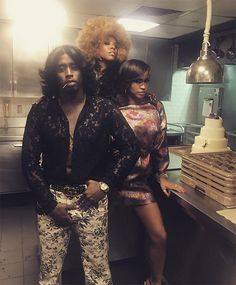 """Sean """"Diddy Combs,"""" June Ambrose & Cassie from Beyoncé's Soul Train-Themed…"""