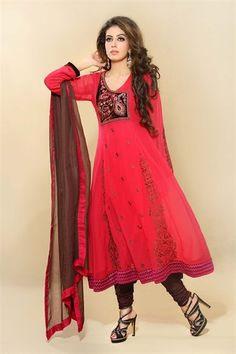 Hot Pink and Brown Kameez with Churidar £43.99