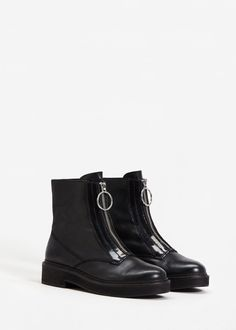 Zipper leather boots | MANGO