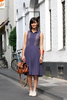 Discover this look wearing H&M Dresses - pleated sheer dress by golestaneh styled for Chic, Everyday in the Summer Brogues Outfit, Heeled Brogues, Oxford Outfit, Brown Brogues, Oxfords Womens Outfits, Summer Outfits Women, Sheer Dress, Chic Outfits, Work Outfits