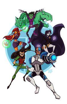 "youngjusticer: ""T-E-E-N-T-I-T-A-N-S, Teen Titans, let's go! Ending theme never gets old. Teen Titans, by Sam Filstrup. Teen Titans Fanart, Teen Titans Go, Teen Titans Cyborg, Beast Boy, Deathstroke, Original Teen Titans, Robin Dc, Arte Dc Comics, Dc Memes"