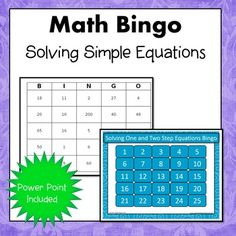 Solve one and two-step equations. Included in this set: 30 unique bingo cards, 25 question cards with answers, PPT that can be used with any interactive whiteboard. You may use the bingo game alone or together with the PPT file. Simone's Math Resources