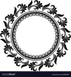 Beautiful Deco Floral Circle vector image on VectorStock Circle Pattern, Mandala Pattern, Mandala Design, Frame Border Design, Design In Circle, Stencil Patterns, Stencil Designs, Mandala Art Lesson, Illumination Art