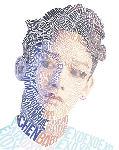 EXO Chen Typography Portrait by retromicha on DeviantArt Typography Alphabet, Typography Layout, Vintage Typography, Typography Poster, Graphic Design Typography, Creative Typography, Typography Quotes, Typography Portrait, Exo Fan Art