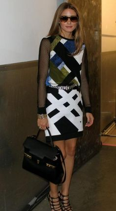 Patterns at play. Olivia Palermo wearing the Nelio Mesh Sleeve Top and Transit Skirt backstage at Tibi's Show.