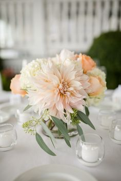 Romantic, Pastel Dahlia and Rose Centerpieces                                                                                                                                                     More