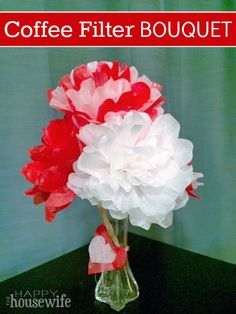 This coffee filter Valentine's Day bouquet is a great, inexpensive decoration for the house, parties, or give to your favorite person this Valentine's Day.
