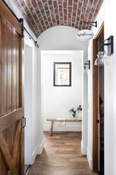 Hallway With Barrel Ceiling Barrel Ceiling, Italian Farmhouse, Granite Bay, Boutique Interior, Clawfoot Bathtub, Life Is Beautiful, Interior Decorating, Interiors, Clawfoot Tub Shower