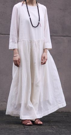 White dress Cotton dress loose long women dress by fashiondress6, $105.00