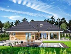 Wizualizacja ARP PADME CE Modern Bungalow House, Bungalow House Plans, Craftsman House Plans, House Plans Mansion, Dream House Plans, 4 Bedroom House Plans, Village House Design, Village Houses, House Layout Plans