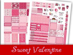 Sweet Valentine~Printable MINI MAMBI Happy Planner Valentine's Day Stickers Weekly Kit For The Mini Sized Happy Planner