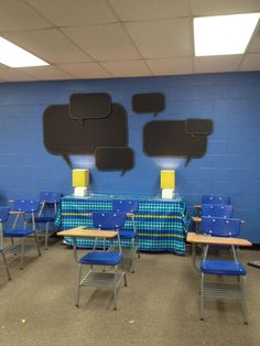 Pinner said: This is my newly-redecorated classroom. I cut the speech bubbles out of foam board insulation, painted them with chalkboard paint, and used industrial Velcro to attach them to the wall. They are so cute!