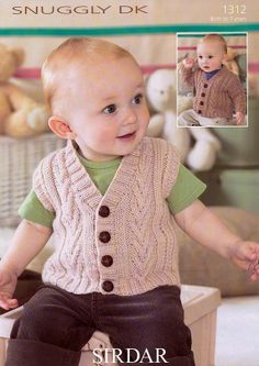Baby Pullover – knitting for baby Cardigan & Waistcoat (birth to 7 years) Baby Cardigan, Cardigan Bebe, Baby Pullover, Knit Cardigan, Brei Baby, Sirdar Knitting Patterns, Knitting Wool, Boys Waistcoat, Pull Bebe