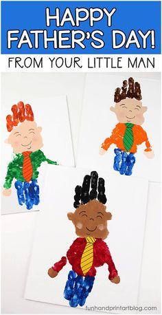 Canvas Art: Happy Father's Day From Your Little Man Handprint Craft #funhandprintartblog #fathersday #craftsforkids #handprints #canvas #dad