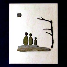 3D Pebble Art on ceramic tile Beach Family by BeachWalkCreationsCA, $48.00