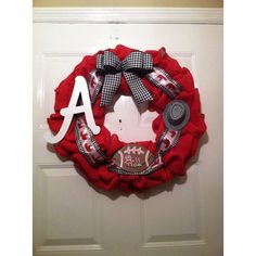Alabama Roll Tide- Nick Saban ($75) ❤ liked on Polyvore featuring home, home decor, grape vine wreath, red wreath, red home decor, white home decor and bear home decor