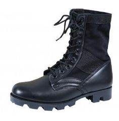 """Rothco's GI Style Jungle Boots Feature A Canvas & Nylon Upper, Black Leather Toe & Heel With A Black Rubber """"Panama"""" Sole, 8"""" High Boot. Take these classic military combat boots on a great hike outdoo"""