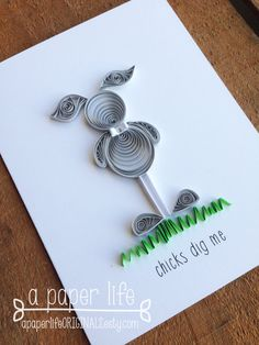 Quilled Grey Easter Bunny Card // Chicks by APaperLifeOriginals