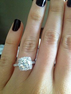 Round cut with cushion halo engagement ring is right up my alley. Absolute perfection. ]