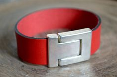 Personalized Leather Bracelet. Red Leather. Magnetic by ByCeci