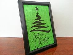 Modern Christmas Tree Merry Christmas 5x7 by NOLACraftsbyDesign