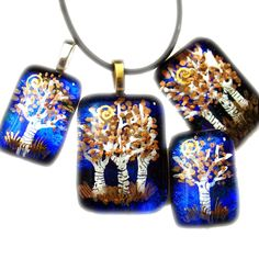 Handpainted Tree Fused Inside Glass on a Dichroic Sky by HSokol