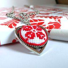 Ukrainian embroidered JEWELRY STORE. Ethnic textile heart necklace. Red flower…