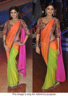 Bollywood Style Shilpa Shetty Georgette Saree in Green Orange and Pink color Priyanka Chopra Saree, Deepika Padukone Saree, Shilpa Shetty, Bollywood Sarees Online, Bollywood Fashion, Bollywood Style, Bollywood Actress, Chiffon Saree, Georgette Sarees