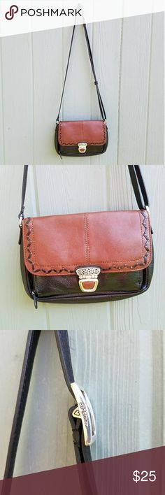"""Brighton Two tone Crossbody Shoulder Purse Bag Great shape, no major wear,  interior is clean.   Buckle does have finish wear. Two tone leather.  9 x 6 x 1.5"""",strap is sliding adjustable. Brighton Bags Crossbody Bags"""