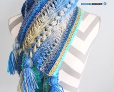 hairpin lace scarf - #freecrochetpattern with combination stitches, an open, lacy look and large, multi-colored tassels