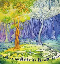 The Two Trees of Valinor: Telperion and Laurelin. Tolkien& legendarium, the Two Trees of Valinor are Telperion and Laurelin, the Silver Tree and the Gold that brought light to the Land of the Valar in ancient times. Jrr Tolkien, Legolas, Gandalf, Thranduil, John Howe, O Hobbit, Hobbit Hole, Two Trees, The Elf