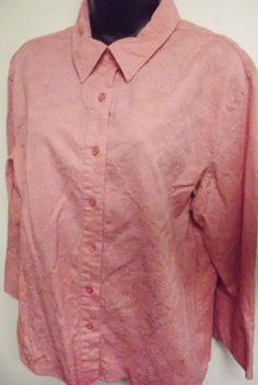 #Passports Women's #Pink Floral Button Front Shirt Long Sleeves Size X XL.