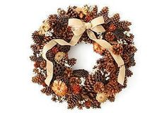 Pinecones and Pods Wreath, Dried - Holiday Decor - Holiday Fall Wreaths, Door Wreaths, Christmas Wreaths, Christmas Decorations, Christmas Ideas, Christmas Crafts, Thanksgiving Wreaths, Christmas 2014, Seasonal Decor