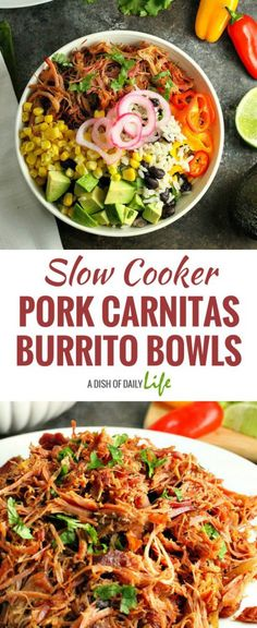 Slow Cooker Pork Carnitas Burrito Bowls...black bean cilantro lime ...