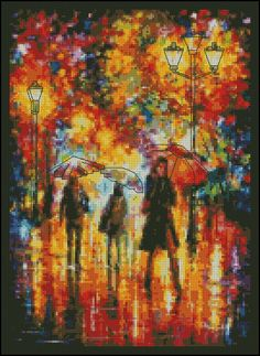 Umbrella Day- Counted Needle Point and Cross Stitch Chart Patterns
