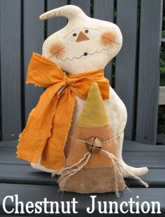 Candy Corn Ghost ePattern ... primitive halloween ghost candy corn cloth doll decoration ornament craft sewing pattern by chestnut junction $1.99