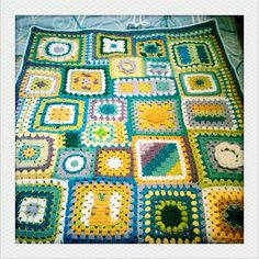 Inspiration :: Sampler afghan by Adaiha ~ love the cat square at the bottom!  . . .  ღTrish W ~ http://www.pinterest.com/trishw/  . . .  #crochet #granny_square #afghan #throw