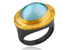 Lika Behar oval blue topaz doublet Pompeii ring