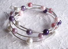 Handcrafted Memory Wire and Glass Pearl Bangle by DBHjewellery, £7.95