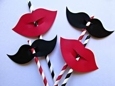 24 Pack Black Mustache & Red Lips Party by SweetPaperSprinkles