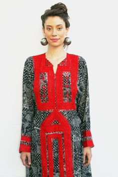 Tavin Boutique - Black and Red Embroidered Afghani Dress