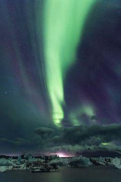 Northern lights at Jökulsárlón.